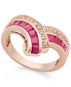 10k Rose Gold over Sterling Silver Ring, Ruby (1-1/4 ct. t.w.) and Diamond Accent Ring.