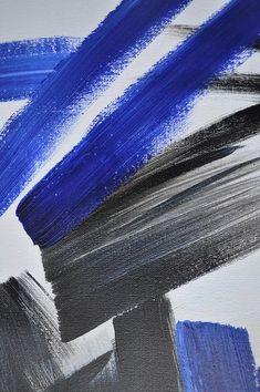 CZ ART DESIGN - Closeup. Set of 2 minimalist  Painting on canvas #S163, original fine art, pair painting. Black, white, blue.