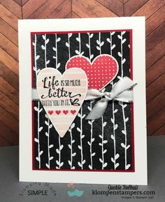 Quick & easy card using Heart Happiness stamp set by Stampin' Up! Details posted at klompenstampers.com