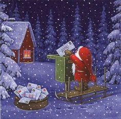 Eva Melhuish, Santa Mails a Letter Christmas Mail, Swedish Christmas, Christmas Scenes, Christmas Gnome, Very Merry Christmas, Vintage Christmas Cards, Christmas Holidays, Christmas Crafts, Norway Christmas