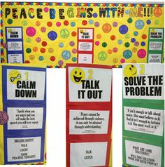 """Peace Begins With Me"" Conflict Resolution Bulletin Board. I got the layout from a ""Counseling on the Wall"" book and then printed out lots of colorful peace signs to add."