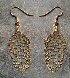 Gold Pine Cone Earrings | Bring a little pine-y appreciation to your next soiree with th... | Earrings