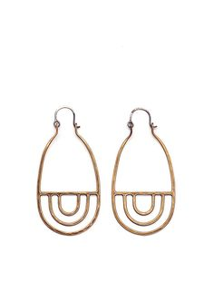 // Currently in stock and ready to ship // Cast and hand-textured bronze earrings with oxidized sterling silver ear wires.Earrings measure 2.75 inches from top to bottom. Our work is made to order, an
