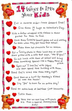 *14 Ways To Show Your Kids You Love Them (This is an amazing list!!!!) via The Happy Home Fairy