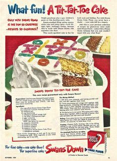 Items similar to Vintage Cake Ad Swans Down TIT-TAT-TOE Cake Decoration Retro Baking Advertisement FlourI Icing Children's Game Kitchen Wall Decor on Etsy Retro Recipes, Old Recipes, Vintage Recipes, Grandma's Recipes, Snack Recipes, Cooking Recipes, 1950s Recipes, Vintage Cookbooks, Vintage Dishes