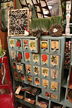 seed packets on old file cabinet ~~ from Common Ground blog