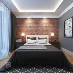 14 Trendy Bedroom Design and Decor Ideas for Your Next Makeover - The Trending House Modern Luxury Bedroom, Luxury Bedroom Design, Bedroom Furniture Design, Luxurious Bedrooms, Apartment Bedroom Decor, Studio Apartment Decorating, Home Bedroom, Brick Wall Bedroom, Brick Wallpaper Bedroom