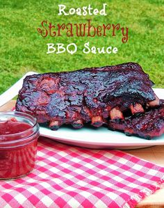 Bobbi's Kozy Kitchen: Roasted Strawberry BBQ Sauce for #SundaySupper