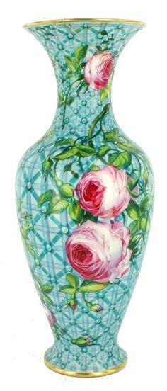 Antique Sevres Porcelain Vase Trellis Lattice Roses French As Is Porcelain Jewelry, Porcelain Vase, Vases, Wrapped Wine Bottles, How To Age Paper, Cross Patterns, Blue Ribbon, Optical Illusions, Trellis