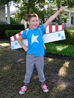 Kid's Halloween Costume: RocketMan. This would also work for strap on airplane wings. Airplane Costume, Astronaut Costume, Airplane Party, Halloween Costumes For Kids, Costumes For Women, Halloween Party, Halloween Halloween, Costume Avion, Team Rocket Costume