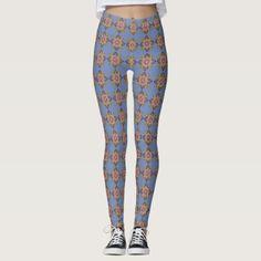 Star Flowers on Blue - Leggings - pattern sample design template diy cyo customize