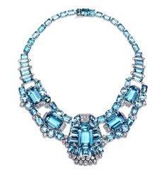 Cartier Art Deco aquamarine and diamond necklace/brooch • Image Source: Kathryn Bonanno • via Deborah Dickinsons Jewels - Aquamarine board on Pinterest