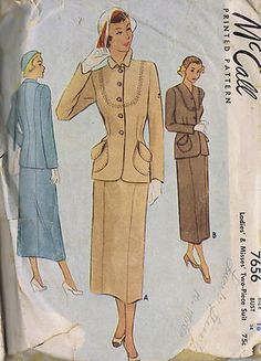 """Vintage 1940s to 1960's McCall's Patterns    5703 Dress with Slim or Full Skirt Size 16 Bust 36 Hip 38"""" (CUT) 1960  7656 McCall Two Piece Suit Size 16 Bust 34 Hip 37"""" (CUT) 1949  9557 Robe in Two Lengths Sizes 16 Bust 34 Hip 37""""(CUT) 1953  1726 Sweater Blouse Size 16 Bust 34"""" (UNCUT) 1952  8725 Blouse and Skirt in Two Lengths Size 15 Bust 33 Hip 36"""" (UNCUT) 1951  2167 Pullover Blouse Size 14 Bust 34"""" (CUT) 1957  6443  Blouse Skirt and Jacket Size 14 Bust 34 Hip 36"""" (CUT) 1962"""
