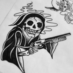 Original_black-ink_old_school_death_with_a_gun_tattoo_design.jpg (500×500)