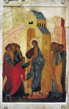 Dionysius The Incredulity of Thomas - The Largest Art reproductions Center In Our website. Religious Images, Religious Icons, Religious Art, Medieval Manuscript, Medieval Art, Renaissance Art, Doubting Thomas, Church Icon, Easter Story
