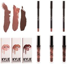 Kylie Jenner new lipkit dolce k./candy k/ true brown k. Want to buy ❤ liked on Polyvore featuring makeup and beauty