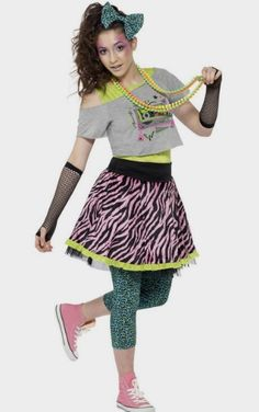 I love this teen girls 80's Halloween costume complete with plenty of accessories and 80's style hair.