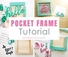 Pocket Frame Tutorial: A Cherry On Top Letter A Crafts, Craft Letters, Wood Crafts, Diy Crafts, Pink Acrylics, Mint Color, American Crafts, Kind Words, One Design