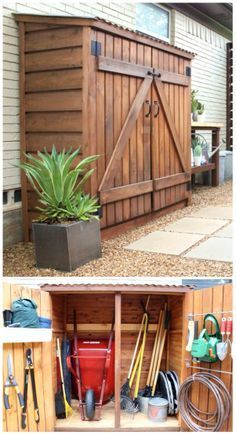 Just what we need for the cedar clad exterior of our carport....a practical shed for a limited space.