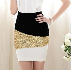 SHINY BLING BLACK AND WHITE AND GOLDEN SKIRT | icecreamteesartfire - Clothing on ArtFire