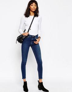 Image 4 of ASOS Ridley High Waist Skinny Jeans In Botanic Dark Stonewash