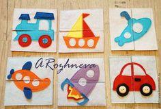 """Купить Пазл """"Транспорт"""" - разноцветный, дети, подарок ребенку, пазлы из фетра, фетр для детей, фетр"""