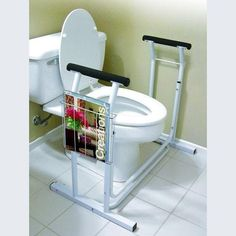 Toilet Safety Frame Support with Padded Handrails - Supports up to 300 lbs. Handicap Bathroom, Make The Right Choice, Tubular Steel, Bathroom Flooring, Decor Styles, Home Accessories, Magazine Rack, Toilet, Safety