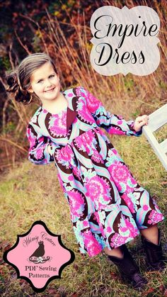 Whimsy Couture Sewing Pattern Tutorial ebook  Long Sleeve EMPIRE Dress 12m- 11/12 girls PDF
