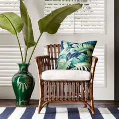 Oh how I love a fab woven rattan chair. I scored a pair of vintage rattan beauties at a thrift store a year ago (see them here) and to this day they bring me joy. Modern versions come in all styles and price points in rattan, bamboo, or woven. Tropical Furniture, Tropical Interior, Tropical Home Decor, Tropical Colors, Sofa Rattan, Upholstered Chairs, Wicker, Tropical House Design, Home Organization