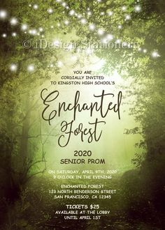 debut ideas This Enchanted Forest Prom Invitation features string lights decorated trees. Perfect for an enchanting, outdoor prom night. We can customize this template for a birthday, quin Enchanted Forest Prom, Enchanted Evening, Enchanted Garden, Prom Invites, Bridal Shower Invitations, Debut Ideas, Outdoor Fairy Lights, Prom Themes, Prom Decor