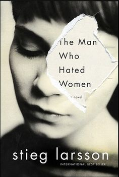 I like the book cover because of it's simplicity. The bold off black over the cream white amazing contrast. The rip effect from the right eye speaks so much about the man who hated women and what he did. The effect of the ripped edge has a white paper color and the inside is a pale pink color.