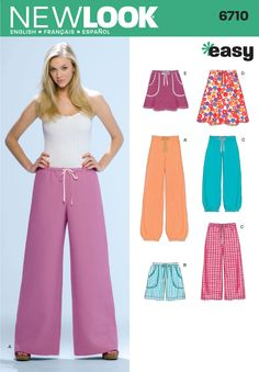 Womens Pull on Pants, Shorts Sewing Pattern 6710 New Look