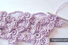 Watch The Video Splendid Crochet a Puff Flower Ideas. Phenomenal Crochet a Puff Flower Ideas. Picot Crochet, Crochet Daisy, Crochet Butterfly, Crochet Flower Patterns, Crochet Stitches Patterns, Thread Crochet, Crochet Trim, Baby Knitting Patterns, Crochet Crafts