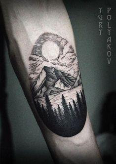 40 Lake Tattoo Designs For Men - Nature Ink Ideas Tattoo - 40 lake tattoo designs for men – nature ink ideas - Body Art Tattoos, New Tattoos, Sleeve Tattoos, Tattoos For Guys, Cool Tattoos, Feather Tattoos, Lake Tattoo, Tattoo Son, Cabin Tattoo