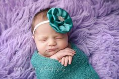 Turquoise Flower Headband - Baby Girl Headband - Photo Prop - Infant Flower Headband - Baby Hair Accessories. $9.95, via Etsy.