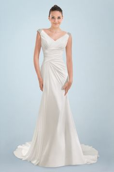 Esthetical V-neckline Ruched Bridal Gown with Beading and Back Cowl