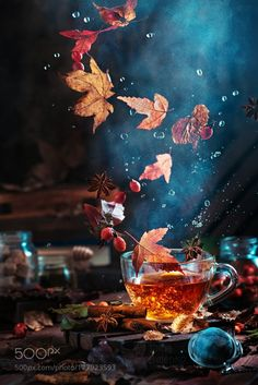 Gardening Autumn - sh-inaam: Briar tea with autumn swirlby Dina Belenko - With the arrival of rains and falling temperatures autumn is a perfect opportunity to make new plantations Hello Autumn, Autumn Day, Autumn Leaves, Autumn Witch, Autumn Photography, Art Photography, Photography Tricks, Popular Photography, Autumn Aesthetic Photography