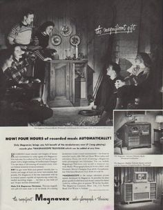 """Description: 1948 MAGNAVOX vintage print advertisement """"the magnificent gift"""" -- The Magnavox Provincial Radio-Phonograph with Duomatic Record Changer, $ 325. (FM optional, $ 65 extra.) Now! Four Hours of recorded music Automatically! -- Size: The dimensions of the full-page advertisement are approximately 10.5 inches x 13.5 inches (26.75 cm x 34.25 cm). Condition: This original vintage full-page advertisement is in Excellent Condition unless otherwise noted (tiny pinkish area bottom edge)."""