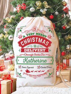 Personalized Santa Sack. Santa bag, Christmas Stocking, Christmas Bag, Add Your Child's Name - DESIGN 2