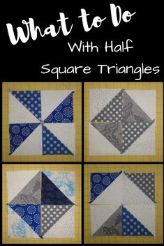 Half Placette Triangles HST Quilt Block Comme tutoriel The post How To Sew Half Placette Triangles & Darcy Quilts appeared first on Upload Box. Triangle Quilt Tutorials, Half Square Triangle Quilts Pattern, Quilt Square Patterns, Half Square Triangles, Quilting Tutorials, Square Quilt, Quilting Projects, Quilting Designs, Squares