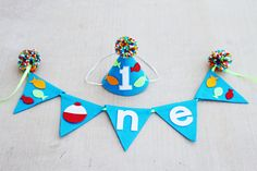 Boys 1st Birthday Gone Fishing Party Hat and High Chair Banner - Fish First Birthday