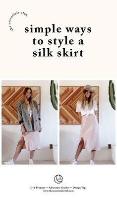 Make what you can and ethically source the rest! Welcome to The Essentials Club tutorial channel which is all about sharing the steps to become more resource. Handmade Clothes, Diy Clothes, Simple Outfits, Cute Outfits, Leather Apron, Slip Skirts, Dress Out, Silk Slip, Skirt Outfits