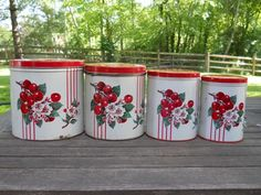 Set of Vintage Kitchen Canisters With Cherries
