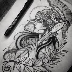 Viking Tattoos, Leg Tattoos, Body Art Tattoos, Girl Tattoos, Sleeve Tattoos, Greek Goddess Tattoo, Greek Mythology Tattoos, Athena Tattoo, Medusa Tattoo