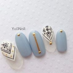 Beautiful nail art designs that are just too cute to resist. It's time to try out something new with your nail art. Nail Polish Designs, Cute Nail Designs, Gorgeous Nails, Pretty Nails, Blue Nails, My Nails, Nail Art Inspiration, Crazy Nails, Japanese Nails