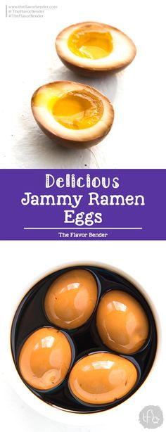 Jammy Ramen Eggs (Ajitsuke Tamago) These are sweet, salty and rich with plenty of umami flavor Plus they are super easy to make and an essential part of an authentic Ramen bowl RamenEggs Ramen is - Egg Recipes, Kitchen Recipes, Appetizer Recipes, Snack Recipes, Cooking Recipes, Snacks, Recipes Dinner, Potato Recipes, Pasta Recipes