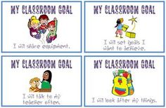 My Classroom Goals (word doc) 36 of them! These can be made into cards so that children select a personal goal they'd like to work on.  Laminated cards can be placed on tables, next to individuals' photos etc.