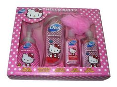Say Hello. Hello Kitty® products from Dial® are fruity scented, and will help keep your skin feeling fresh and clean. Its cute, clean fun! Item has Foaming Hand wash, Body Wash, Hand sanitizer, and a Liquid Hand Wash with a pink bath pouf. Great gift item for Hello Kitty lovers of all ages!