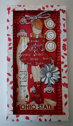 """Paper Doll Diva Tag Greeting Card in a Handmade Box Frame - Julie Nutting Stamp """"Ohio State Buckeyes With Brutus Dress"""""""
