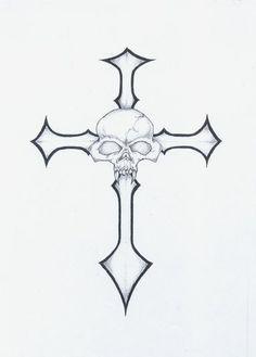 Tattoo idea Skull Tattoos, Tribal Tattoos, Cross Tattoos, Tattoo Drawings, Pencil Drawings, Sunflower Drawing, Cross Tattoo Designs, Some Ideas, Future Tattoos